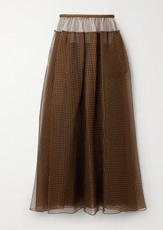 Fendi Tulle-trimmed Checked Silk-organza Maxi Skirt