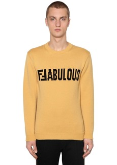 Fendi Two Tone Ffabulous Wool Intarsia Sweater