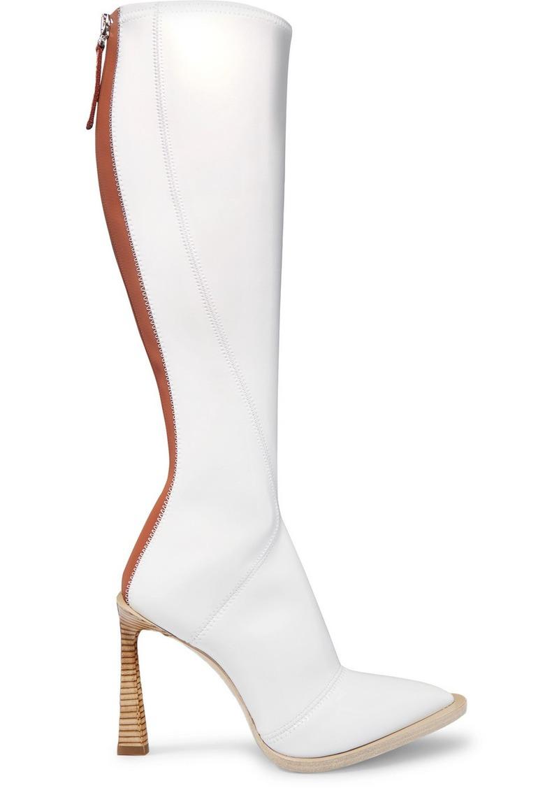 Fendi Two-tone Glossed-neoprene Knee Boots