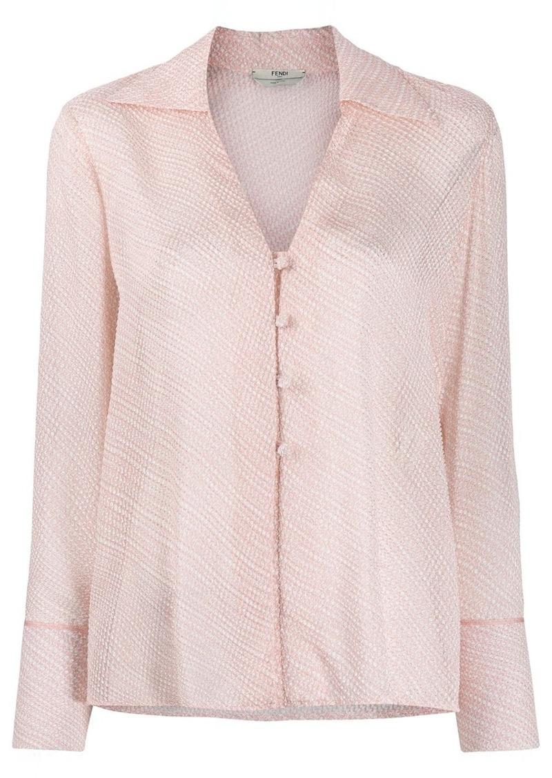 Fendi V-neck textured shirt