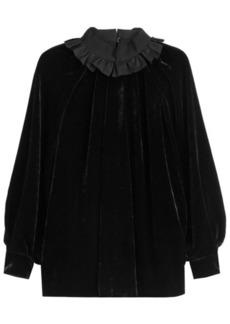 Fendi Velvet Top with Ruffled Collar