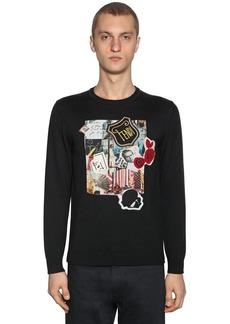 Fendi Virgin Wool Knit Sweater W/karl Patch