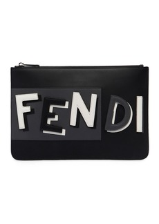 Fendi Vocabulary 3d Logo Leather Pouch