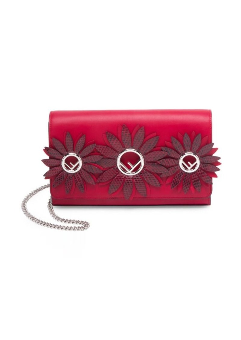 Fendi Wallet on Chain Leather Cross Body Bag Accented With Flowers ... b0525879535ac