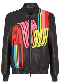 Fendi wave logo bomber jacket