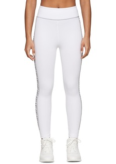 White & Silver 'Forever Fendi' Elastic Band Leggings