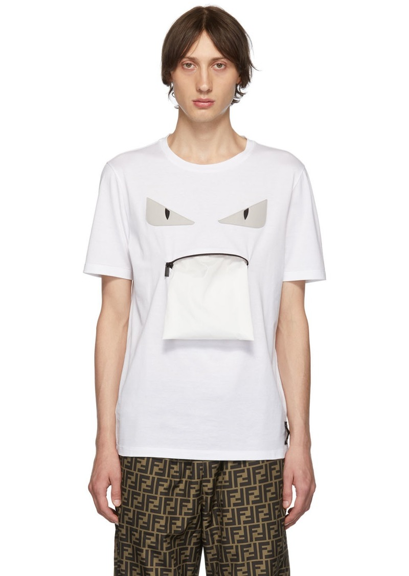 Fendi White Bag Bugs Zip Mouth T-Shirt