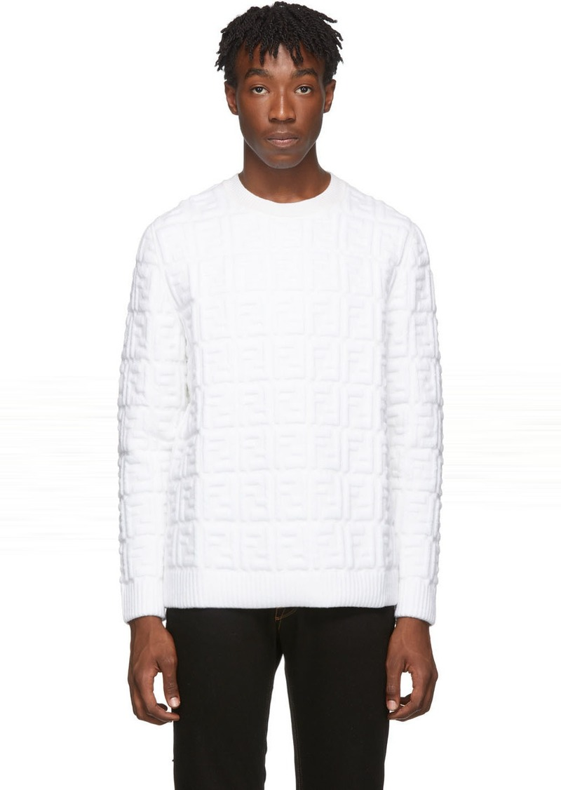White Embossed Wool 'Forever Fendi' Sweater