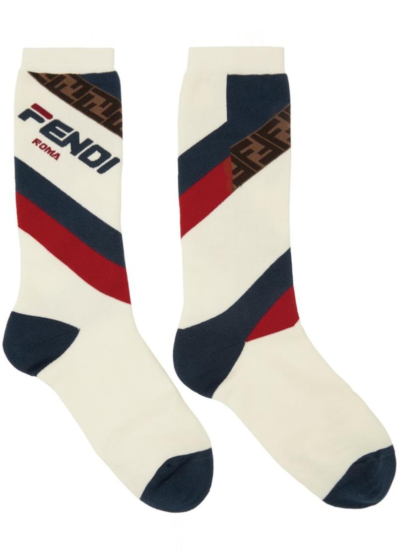 White 'Fendi Mania' Socks