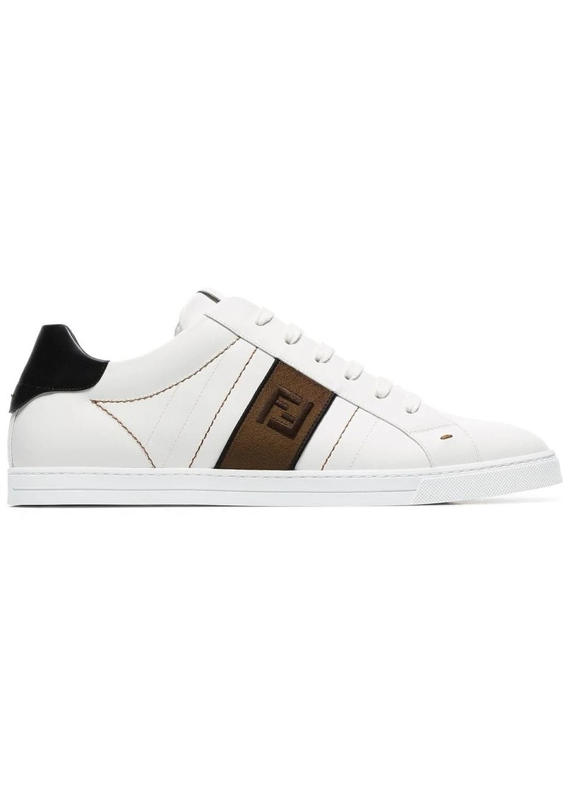Fendi white FF motif leather low top sneakers