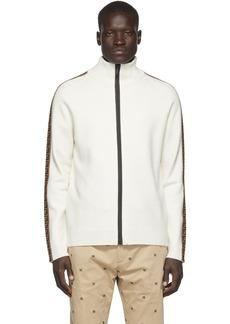 White 'Forever Fendi' Tape Zip-Up Sweater