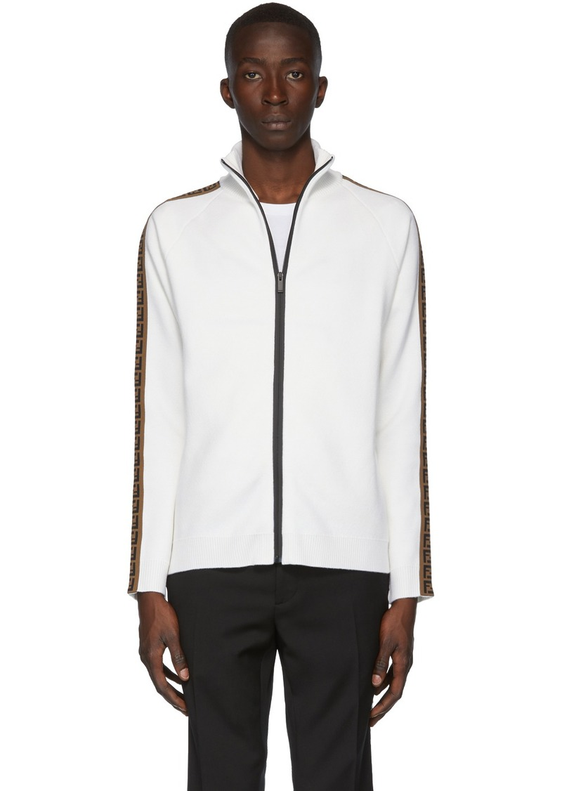 White 'Forever Fendi' Zip-Up Sweater