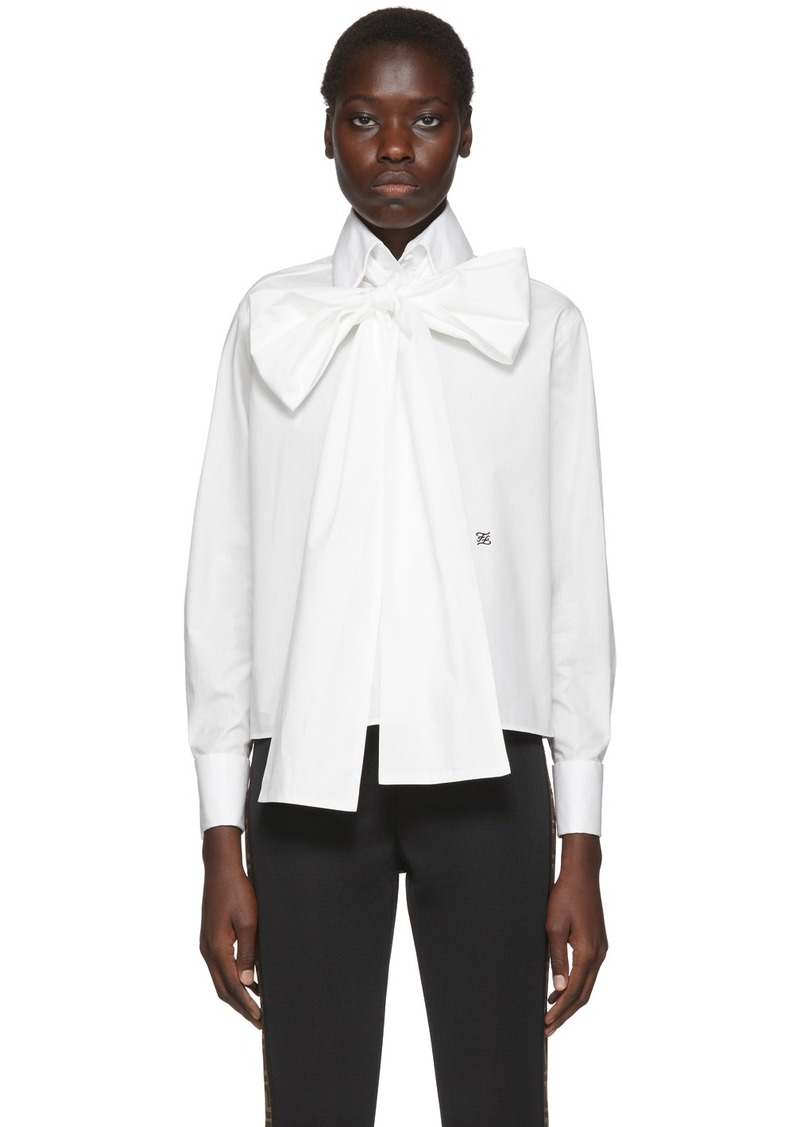 Fendi White Oversized Bow Blouse