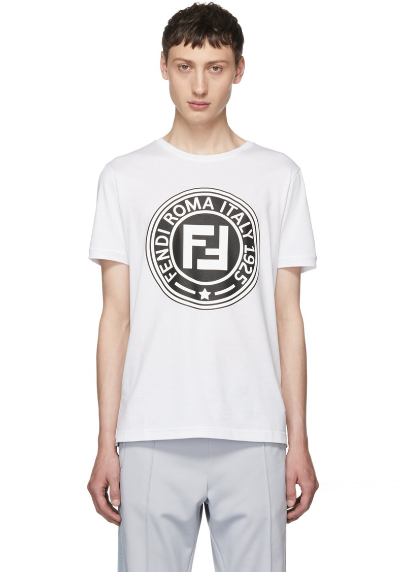 eedd78d57379b8 Fendi White 'Roma' Logo T-Shirt   T Shirts