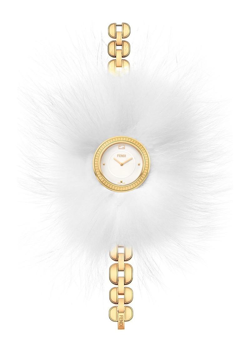 Fendi Women's Bracelet Watch with Genuine Arctic Fox Fur, 36mm