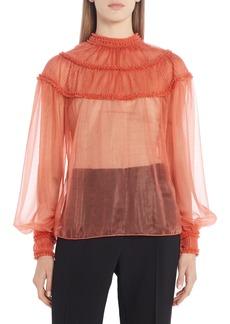 Women's Fendi Ruffle Yoke Sheer Organza Silk Lined Blouse