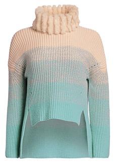 Fendi Wool & Cashmere Knit Mink Fur Turtleneck Sweater