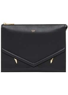 Fendi zipped appliqué clutch bag