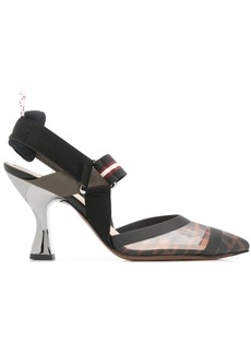Fendi Zucca sports band slingback pumps