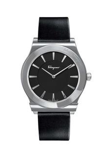 Ferragamo 1898 Slim Stainless Steel & Leather-Strap 2-Hand Watch
