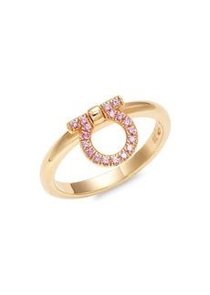 Ferragamo 18K Rose Gold & Pink Sapphire Horseshoe Ring