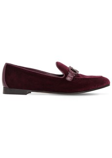 Ferragamo 20mm Trifoglio Embellished Velvet Loafer