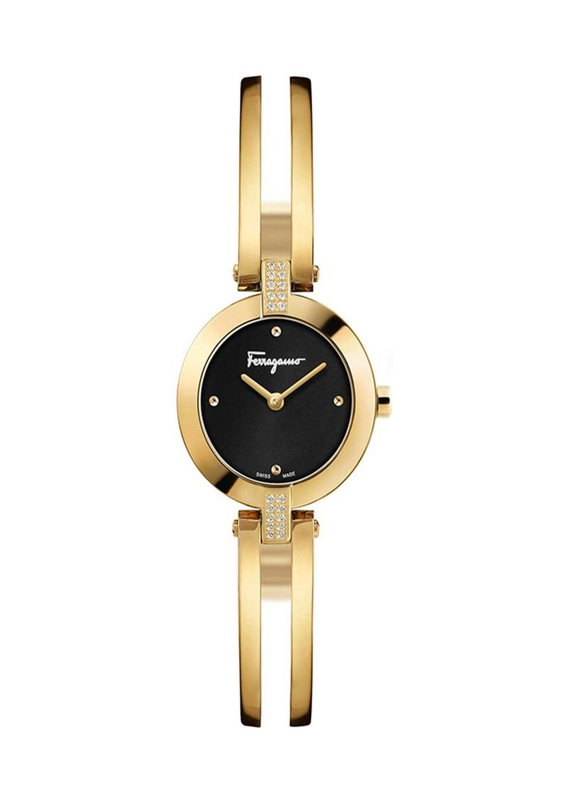 Ferragamo 26mm Diamond-Lug Mini Watch w/ Bracelet Strap  Gold/Black