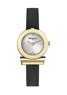Ferragamo 27mm Gancio Watch w/ Leather Strap  Black/Gold
