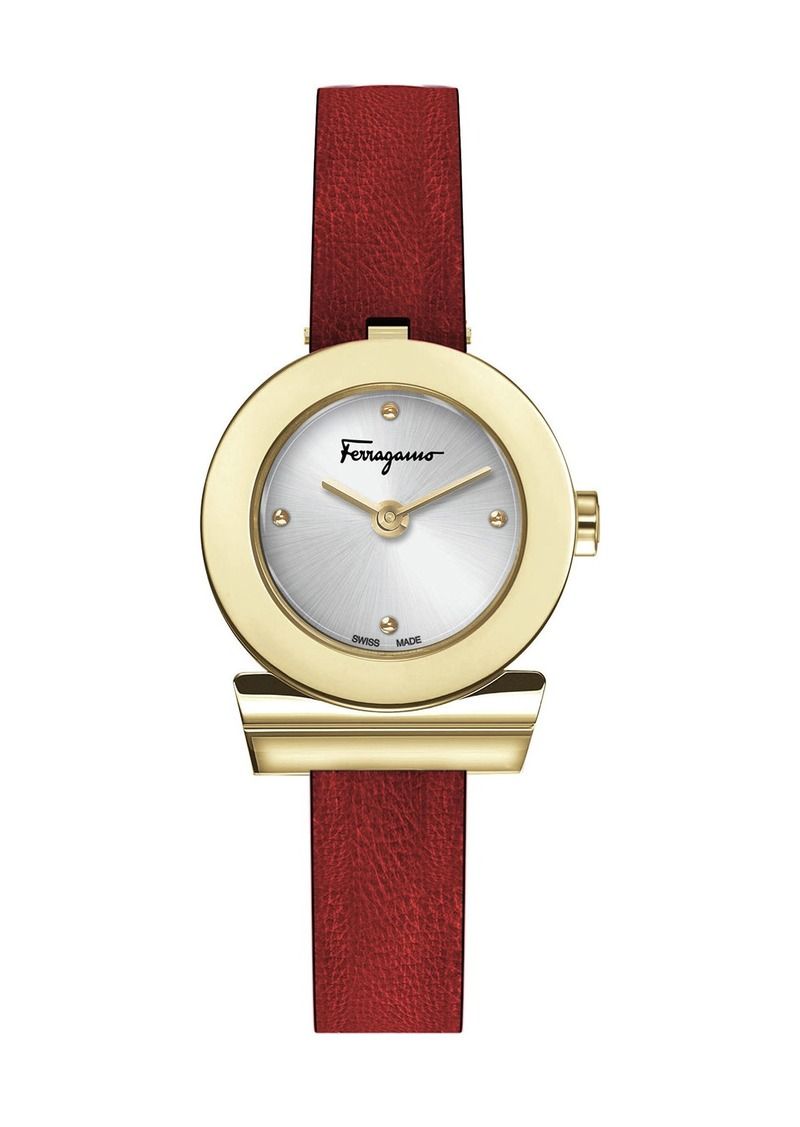 Ferragamo 27mm Gancio Watch w/ Leather Strap  Red/Gold