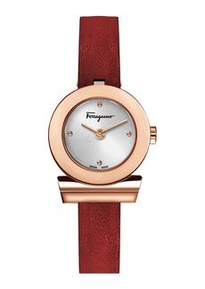 Ferragamo 27mm Gancio Watch w/ Leather Strap  Rose Gold