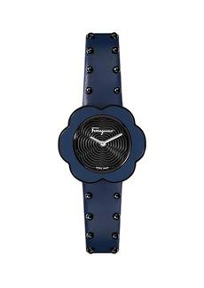 Ferragamo 30mm Flower Watch w/ Leather Strap  Blue