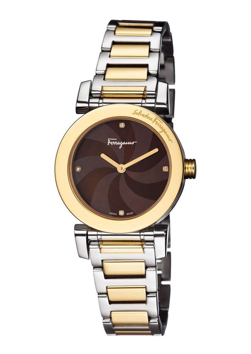 Ferragamo 31mm Two-Tone Bracelet Watch w/ Mother-of-Pearl Dial & Diamonds  Brown