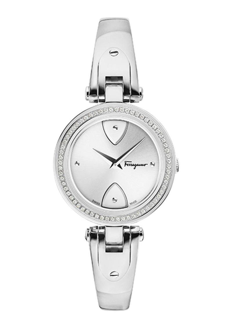 Ferragamo 32mm Gilio Diamond Watch w/ Bangle Bracelet