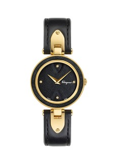 Ferragamo 32mm Gilio Leather-Dial Watch w/ Diamonds  Gold/Black
