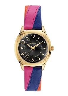 Ferragamo 36mm Diamond-Corner Watch w/ Two-Tone Leather Strap  Gold/Black