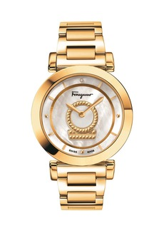 Ferragamo 36mm Minuetto 1-Diamond Watch w/ Bracelet Strap  Gold