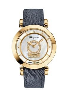Ferragamo 36mm Minuetto Gold IP Diamond-Dial Watch with Blue Leather Strap