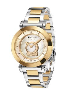 Ferragamo 36mm Minuetto Two-Tone IP Watch with Bracelet