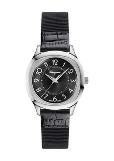 Ferragamo 36mm Watch w/ Patent Leather Strap  Black