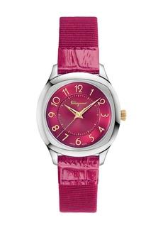 Ferragamo 36mm Watch w/ Patent Leather Strap  Fuchsia