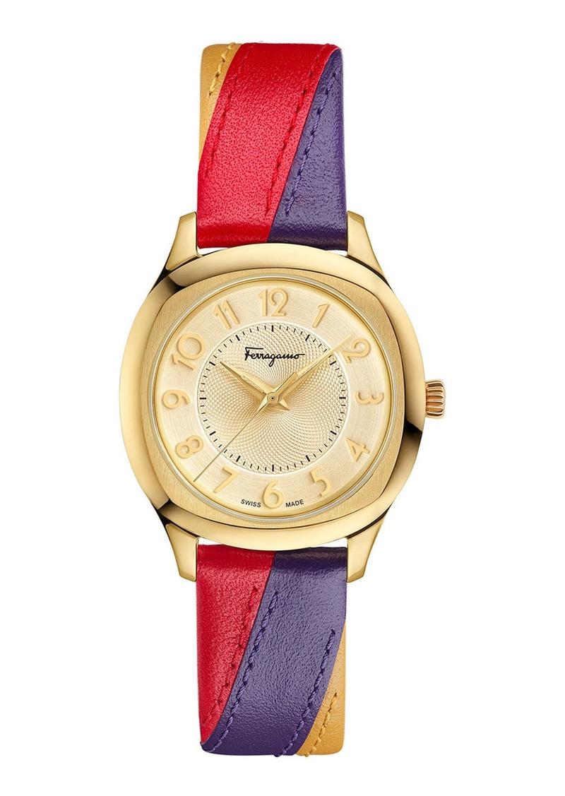 Ferragamo 36mm Watch w/ Tricolor Leather Strap  Gold