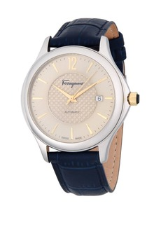 Ferragamo 41MM Stainless Steel Automatic Leather Strap Watch