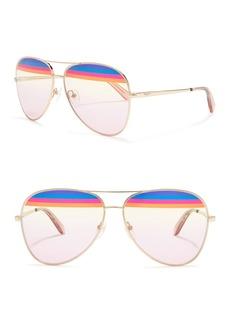 Ferragamo 60mm Striped Aviator Sunglasses
