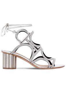 Ferragamo 70mm Vinci Glittered Lace-up Sandals