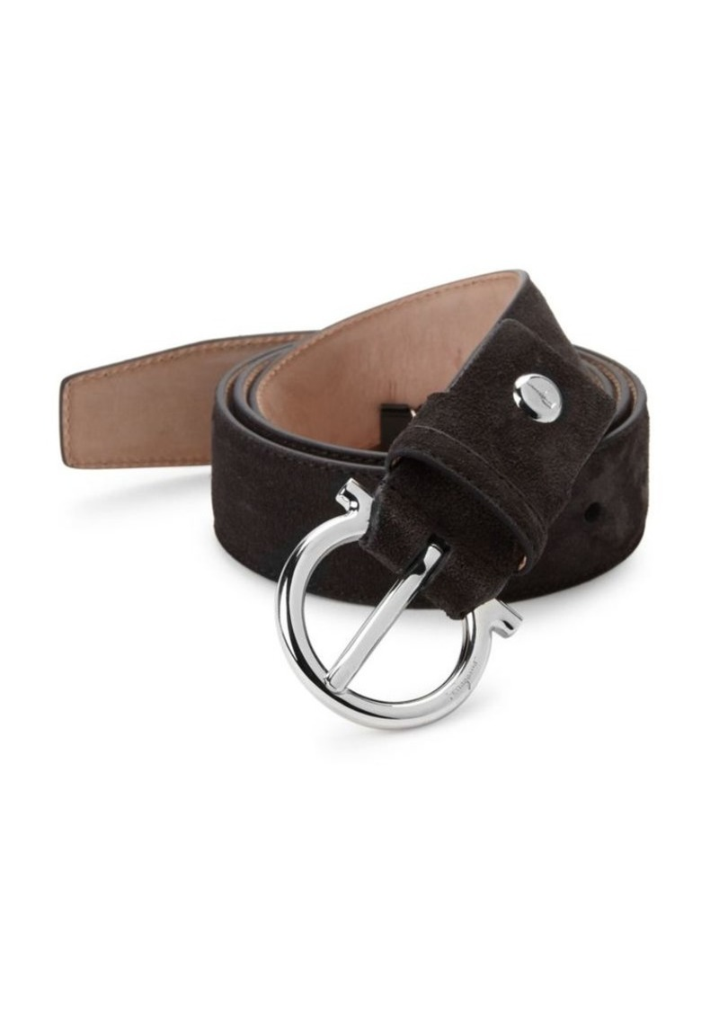 Ferragamo Adjustable Gancio Suede Belt