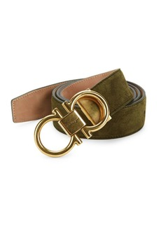 Ferragamo Adjustable Suede Gancini Buckle Belt