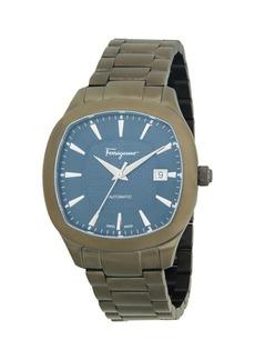 Ferragamo Analog Rounded Gunmetal-Tone Bracelet Watch