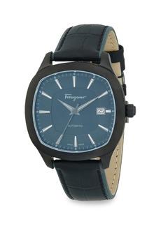 Ferragamo Analog Rounded Leather Strap Watch