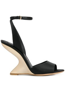 Ferragamo Arsina sculpted heel peep toe shoes