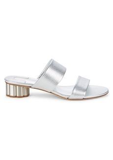 Ferragamo Belluno Metallic Leather Sandals